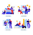 online education flat concept vector image vector image