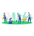 people characters gardener and farmer work garden vector image