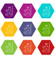 poison pest control icons set 9 vector image vector image