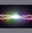 rainbow lightning with flash on a dark background vector image vector image