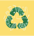 recycle plastic concept with green arrows and vector image vector image