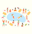 relaxation people in pool flat design style vector image