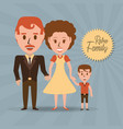 retro family parents with their son vector image vector image