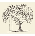 Romantic tree swing hand drawn sketch vector image vector image
