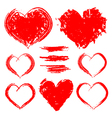 set hand drawn hearts isolated on white vector image vector image