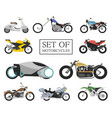 set motorcycle icons retro and modern flat vector image vector image