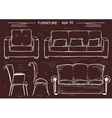 Set of couch and armchairs sketchy furnitures vector image vector image