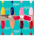 Set of multicolored nail polish brushes vector image vector image