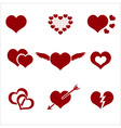 set of red valentine hearth love symbols eps10 vector image vector image