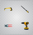 set of tools realistic symbols with pincers rasp vector image