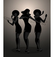 silhouettes of three dancer and soul singer in vector image