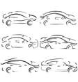 simple sketch car set vector image