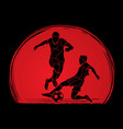 soccer player action designed on sunlight vector image
