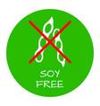 soya free label food intolerance symbols vector image