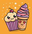 sweet cupcake with ice cream kawaii character vector image