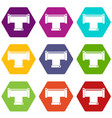t pipe connection icon set color hexahedron vector image vector image