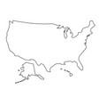 united states of america map of black contour