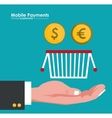 mobile payment hand hold basket and coins dollar vector image