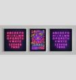 mardi gras poster design template in neon style vector image