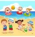 Happy kids having fun on the beach vector image