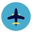 plane icon on round blue background vector image