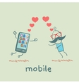 a man in love with mobile vector image vector image