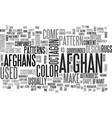 afghan patterns text word cloud concept vector image vector image