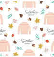 autumn pattern with sweater vector image vector image