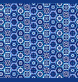 blue geometric carpet pattern with hexagons vector image