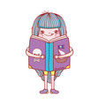 book day little girl hug book isolated design vector image