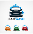 car wash with bubble blue logo icon element vector image vector image