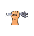 cartoon man hand holding adjustable wrench vector image vector image