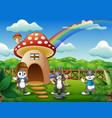 cartoon many rabbits near red mushroom house vector image