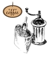 Coffee mill and bag vector image