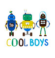 cool boys robot t-shirt design vector image