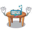 diving cartoon round wooden table in cafe vector image