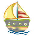 drawing of a colorful boat or color vector image
