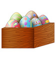 easter colorful eggs in a brown wooden box vector image