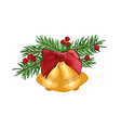 fir branches with bell and red bow isolated on vector image