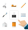flat icon stationery set of date block paper clip vector image