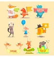 Flat Season Animal Icons vector image vector image
