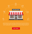 flat storefront and linear icons set vector image vector image