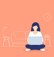 girl with laptop sitting in lotus pose and working vector image