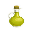 glass bottle of olive oil with cork natural and vector image vector image