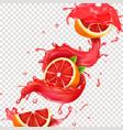grapefruit juice spiral realistic splash vector image vector image