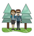 grated woman and man couple with pine trees vector image vector image