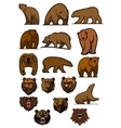grizzly or brown bear characters set vector image vector image