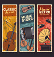 guitar trumpet vinyl records music instruments vector image