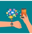 Hand with smart watch and smartphone vector image vector image