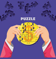 hands with puzzle pieces in shape circle vector image vector image